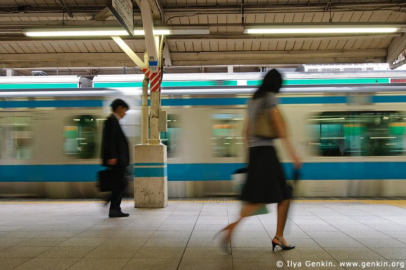 japan stock photography | People at a Subway Train Station, Tokyo Subway Train, Tokyo, Kanto Region, Honshu Island, Japan, Image ID JP-TRANS-0001
