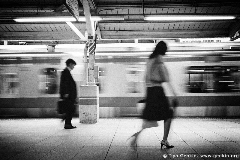 People at a Subway Train Station, Tokyo Subway Train, Tokyo, Kanto Region, Honshu Island, Japan
