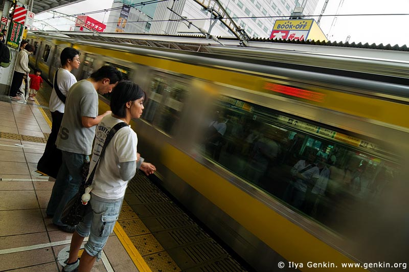 japan stock photography | People are Waiting for Subway Train to Arrive to a Platform, Tokyo Subway Train, Tokyo, Kanto Region, Honshu Island, Japan, Image ID JP-TRANS-0006