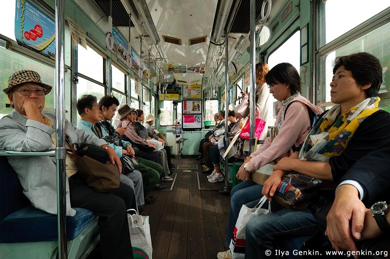 japan stock photography | People are Traveling in an Old Tram in Kumamoto, Kumamoto, Kumamoto Prefecture, Kyushu Region, Kyushu Island, Japan, Image ID JP-TRANS-0008