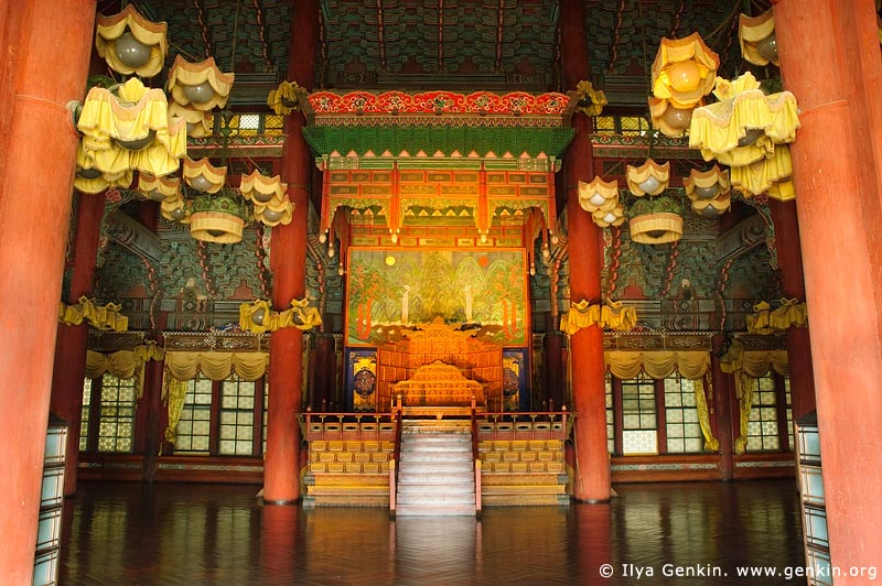 korea stock photography | Interior of the Injeongjeon Hall at Changdeokgung Palace in Seoul, South Korea, Jongno-gu, Seoul, South Korea, Image ID KR-SEOUL-CHANGDEOKGUNG-0005