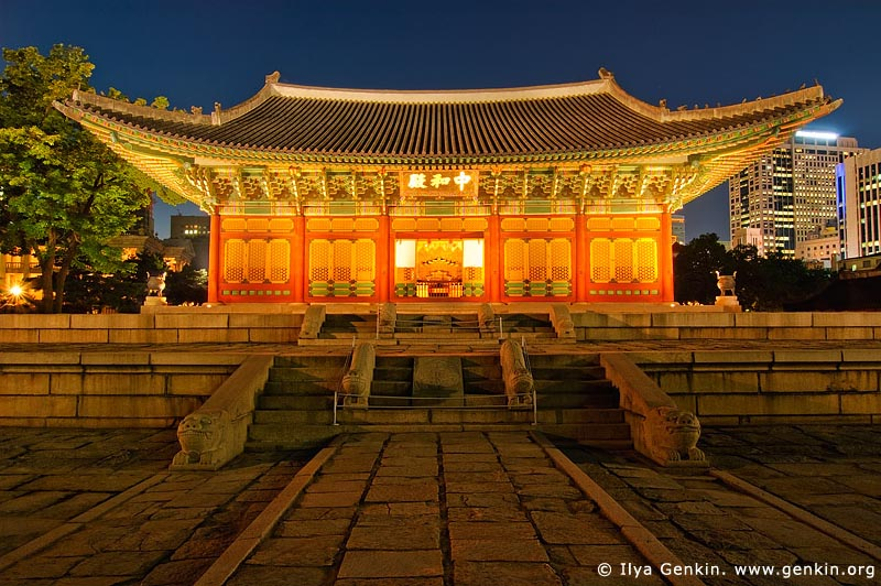 korea stock photography | Junghwajeon Hall at Night at Deoksugung Palace in Seoul, South Korea, Seoul, South Korea, Image ID KR-SEOUL-DEOKSUGUNG-0002