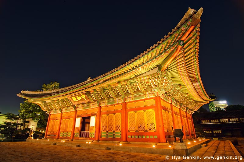 korea stock photography | Junghwajeon Hall at Night at Deoksugung Palace in Seoul, South Korea, Seoul, South Korea, Image ID KR-SEOUL-DEOKSUGUNG-0004