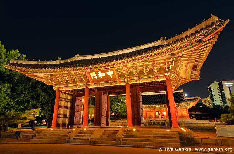 korea stock photography | The Junghwamun Gate at Night at Deoksugung Palace in Seoul, South Korea, Seoul, South Korea, Image ID KR-SEOUL-DEOKSUGUNG-0009
