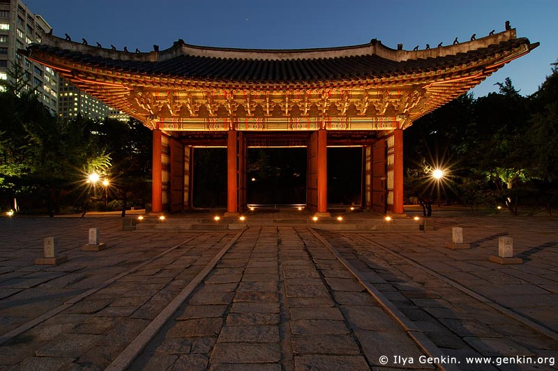korea stock photography | The Junghwamun Gate and Rank Stones at Night at Deoksugung Palace in Seoul, South Korea, Seoul, South Korea, Image ID KR-SEOUL-DEOKSUGUNG-0010