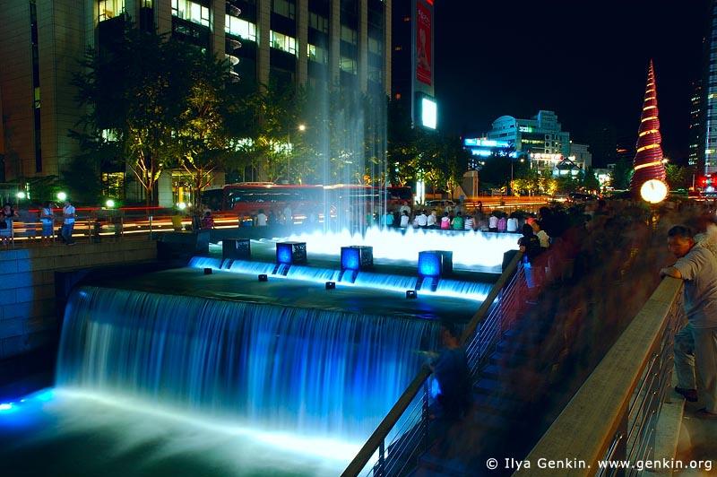 korea stock photography   Cheonggyecheon River Park at Night in Seoul, South Korea, Seoul, South Korea, Image ID KR-SEOUL-0005