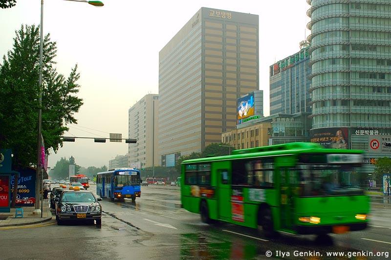 korea stock photography | Buses and Taxis on Sejongno Street in Seoul, South Korea, Gwanghwamun, Seoul, South Korea, Image ID KR-SEOUL-0007