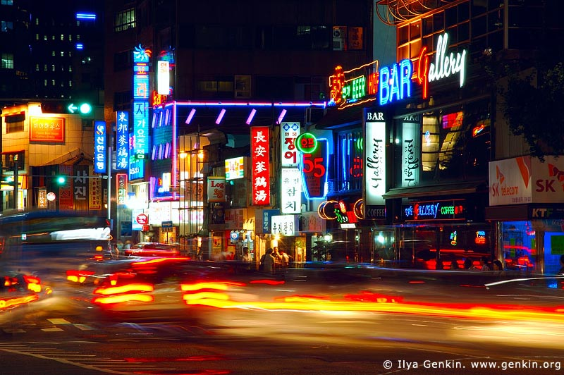 korea stock photography | Signs for Restaurants, Bars and Shops in Seoul at Night, South Korea, Seoul, South Korea, Image ID KR-SEOUL-0012