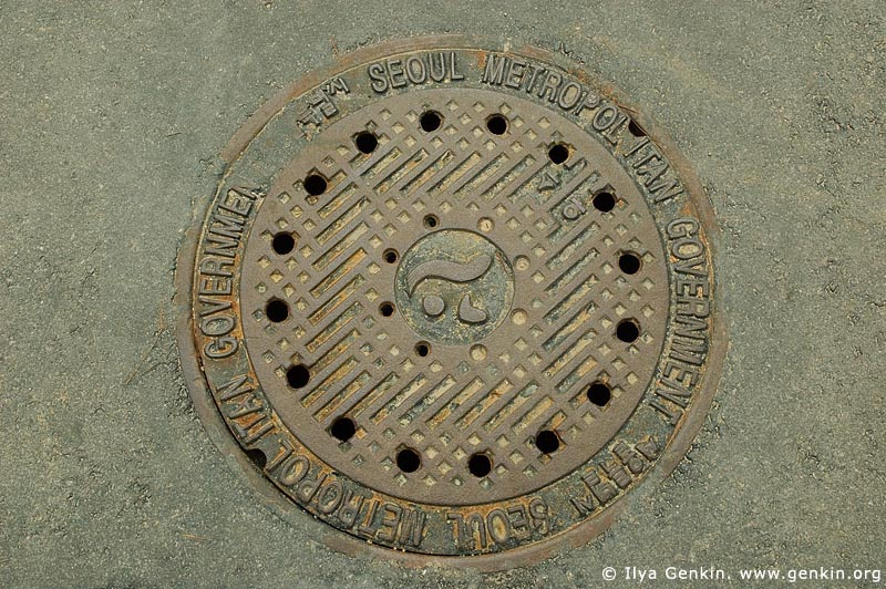 korea stock photography | Manhole Cover in Seoul, South Korea, Seoul, South Korea, Image ID KR-SEOUL-0019