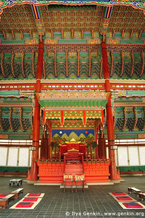korea stock photography | The Throne at Geunjeongjeon Hall at Gyeongbokgung Palace in Seoul, South Korea, Seoul, South Korea, Image ID KR-SEOUL-GYEONGBOKGUNG-0003