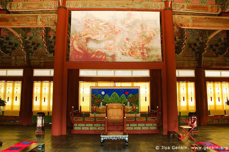 korea stock photography | The Throne at Sajeongjeon Hall at Gyeongbokgung Palace in Seoul, South Korea, Seoul, South Korea, Image ID KR-SEOUL-GYEONGBOKGUNG-0004