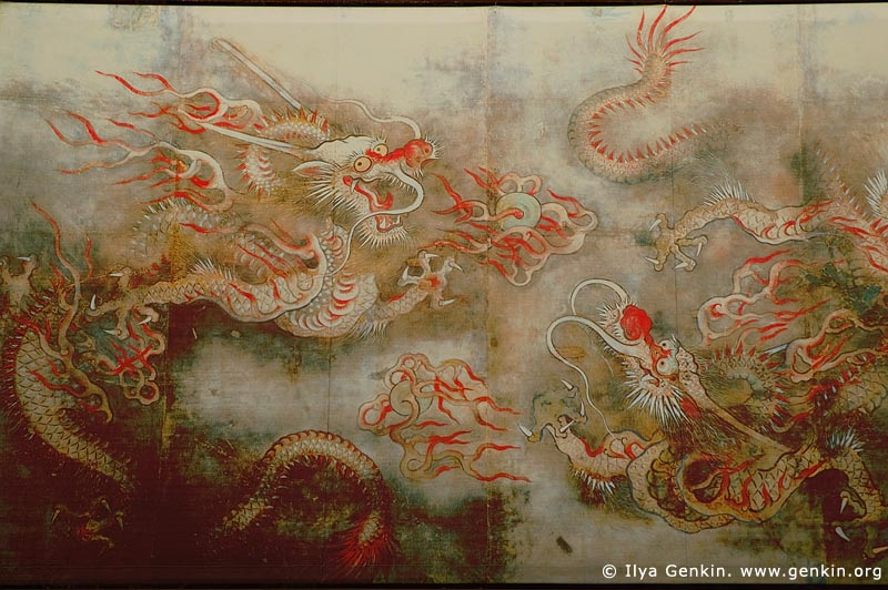 korea stock photography | Painting of Dragon on the Wall of Sajeongjeon Hall at Gyeongbokgung Palace in Seoul, South Korea, Seoul, South Korea, Image ID KR-SEOUL-GYEONGBOKGUNG-0006