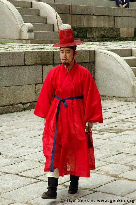 korea stock photography | Man in a Traditional Costume at Gyeonghuigung Palace in Seoul, South Korea, Seoul, South Korea, Image ID KR-SEOUL-GYEONGHUIGUNG-0002