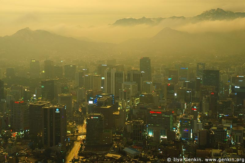 Seoul city at Dusk, View from N Seoul Tower, Seoul, South Korea