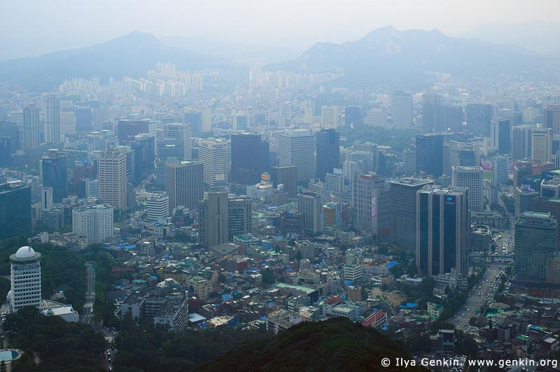 korea stock photography | Seoul City, The view from N Seoul Tower in Seoul, South Korea provides a breathtaking 360 degree view of the city., Image ID KR-SEOUL-NAMSAN-0002