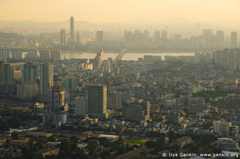 korea stock photography | Seoul city at Dusk, The view from N Seoul Tower in Seoul, South Korea provides a breathtaking 360 degree view of the city., Image ID KR-SEOUL-NAMSAN-0003