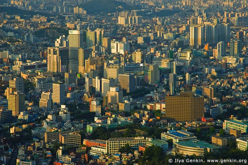 korea stock photography | Seoul city at Dusk, The view from N Seoul Tower in Seoul, South Korea provides a breathtaking 360 degree view of the city., Image ID KR-SEOUL-NAMSAN-0004