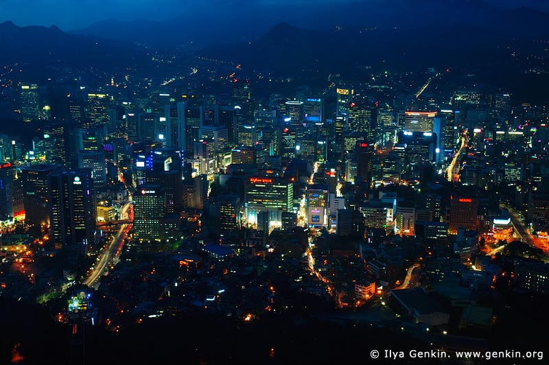 korea stock photography | Seoul city at Night, The view from N Seoul Tower in Seoul, South Korea provides a breathtaking 360 degree view of the city., Image ID KR-SEOUL-NAMSAN-0005