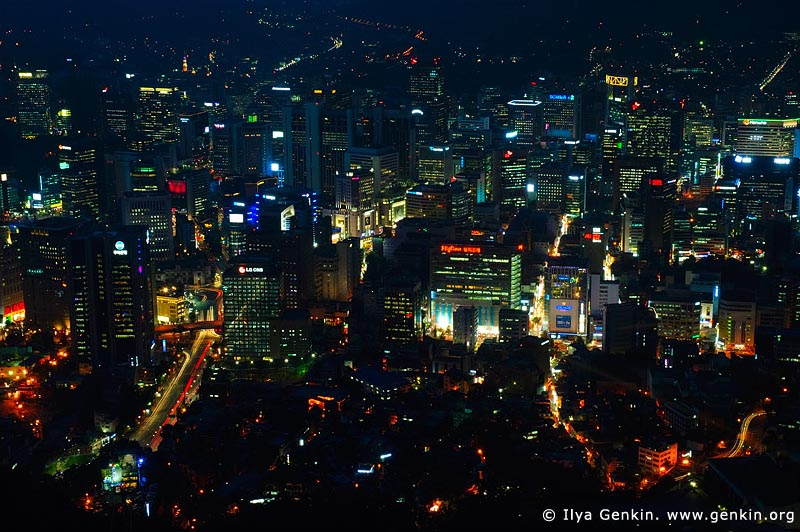 korea stock photography | Seoul city at Night, The view from N Seoul Tower in Seoul, South Korea provides a breathtaking 360 degree view of the city., Image ID KR-SEOUL-NAMSAN-0006