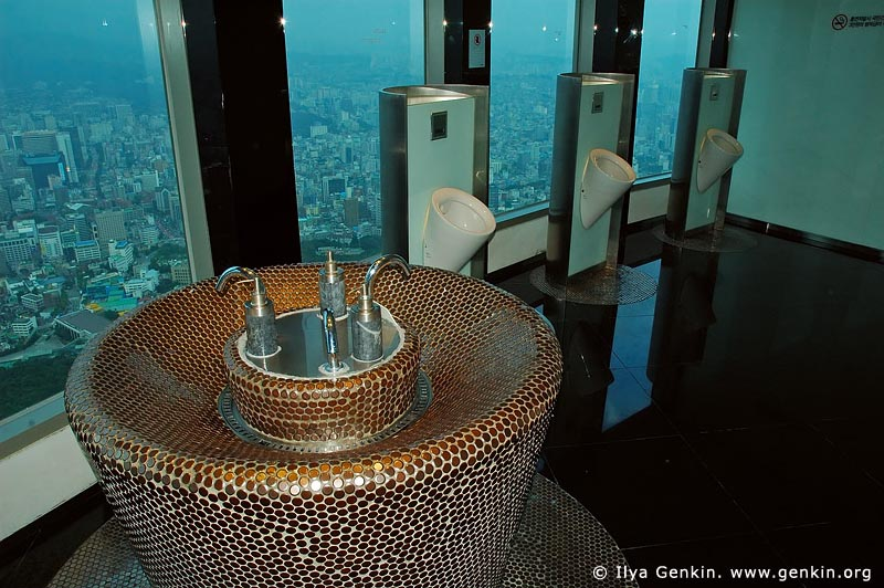 korea stock photography | Male Toilet Interior Inside N Seoul Tower, Namsan Mountain, Seoul, South Korea, Image ID KR-SEOUL-NAMSAN-0008