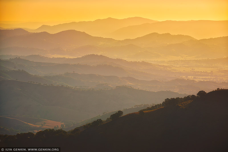 landscapes stock photography | Hazy Layers of Ridges During Sunset, Gologolies Lookout, Barrington Tops, NSW, Australia, Image ID AU-NSW-BARRINGTON-TOPS-0002