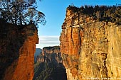 landscapes stock photography | Hanging Rock at Dawn, Baltzer Lookout, Blackheath, Blue Mountains, NSW, Australia, Image ID HANGING-ROCK-BLUE-MOUNTAINS-0005. Stock photo of the Baltzer Lookout, the Hanging Rock and the Grose Valley at sunrise in the Blackheath region, Blue Mountains National Park, Australia.