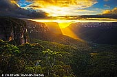 landscapes stock photography | Beautiful Sunrise at Govett's Leap Lookout, Blackheath, Blue Mountains National Park, NSW, Australia, Image ID AU-GOVETTS-LEAP-0003. No visit to Blackheath is complete without gazing in wonder from the lookout at Govett's Leap. Known as one of the most spectacular lookouts in all of Australia, Govett's Leap is sure to take your breath away. The view across to Pulpit Rock, Mount Banks and and the upper reaches of the Grose Valley is one of the finest in the Blue Mountains. It's especially beautiful at sunrise. There also are a number of walks in the area including the opportunity to descend into the valley or to take the Cliff Top Walk to Evans Lookout.