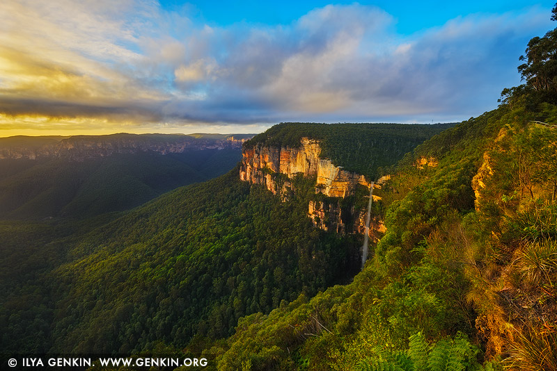 landscapes stock photography | Bridal Veil Falls at Sunrise, Govett's Leap Lookout, Blackheath, Blue Mountains National Park, NSW, Australia, Image ID AU-GOVETTS-LEAP-0004