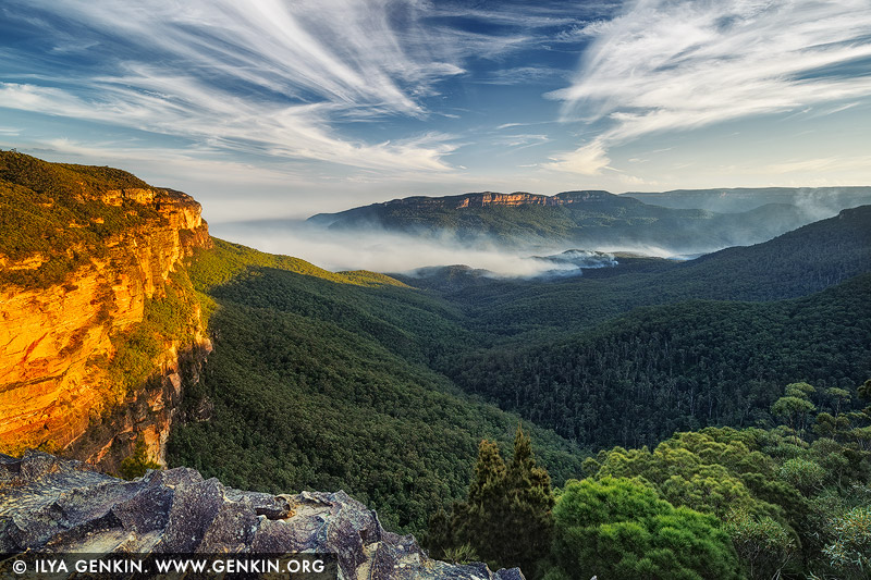 landscapes stock photography | Jamison Valley at Sunset from Princes Rock Lookout, Wentworth Falls, Blue Mountains National Park, NSW, Australia, Image ID AU-JAMISON-VALLEY-0001