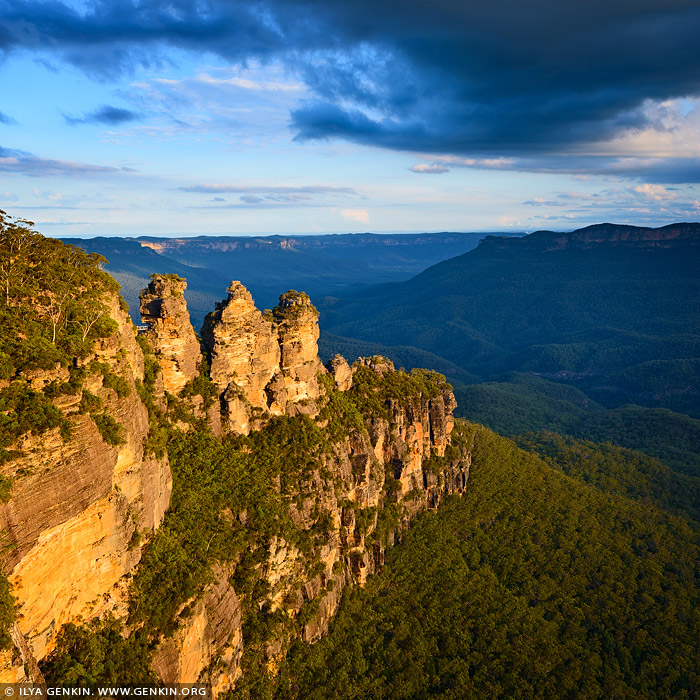landscapes stock photography | The Three Sisters, Echo Point, Katoomba, Blue Mountains, NSW, Australia, Image ID THREE-SISTERS-BLUE-MOUNTAINS-0004