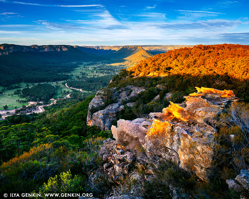 landscapes stock photography | Wolgan Valley at Sunset, Gardens of Stone, Greater Blue Mountains, NSW, Australia, Image ID WOLGAN-VALLEY-0001