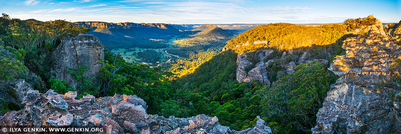 landscapes stock photography | Wolgan Valley Panorama at Sunset, Gardens of Stone, Greater Blue Mountains, NSW, Australia, Image ID WOLGAN-VALLEY-0002