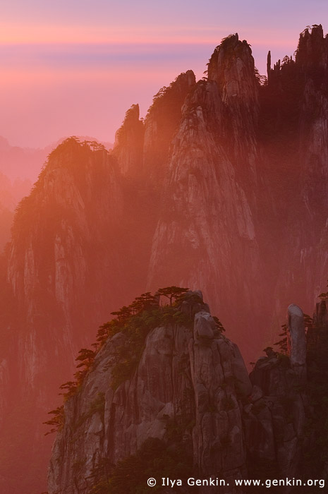 landscapes stock photography | Sunrise from Stone Monkey Gazing Over a Sea of Clouds Lookout, Baiyun Scenic Area, Huangshan (Yellow Mountains), China, Image ID CHINA-HUANGSHAN-0005
