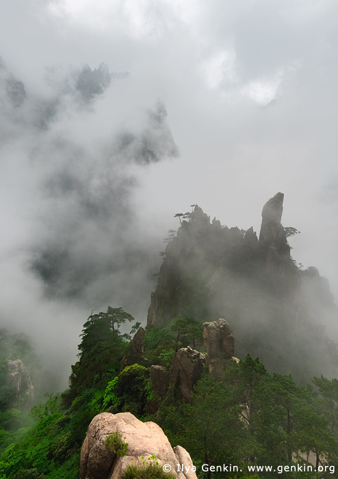 landscapes stock photography | Huangshan Mountains in Clouds, Huangshan (Yellow Mountains), China, Image ID CHINA-HUANGSHAN-0007