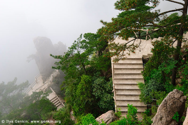 landscapes stock photography | Stairway in Xihai (West Sea) Canyon, Huangshan (Yellow Mountains), Anhui Province, China