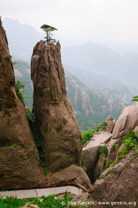 landscapes stock photography   Hiking Up Above Fairy-walking Bridge, Xihai (West Sea) Grand Canyon, Baiyun Scenic Area, Huangshan (Yellow Mountains), China, Image ID CHINA-HUANGSHAN-0026