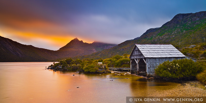 landscapes stock photography | Lake Dove Boat Shed at Sunrise, Cradle Mountain National Park, Tasmania, Australia