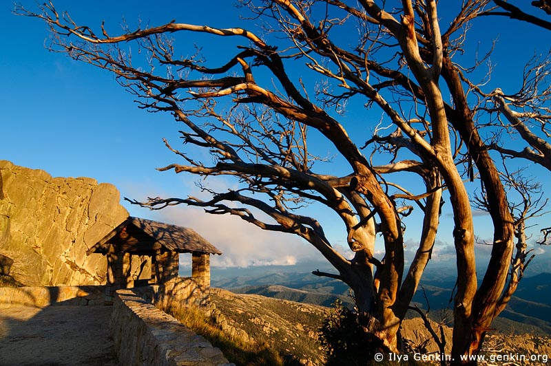 landscapes stock photography | Old Stone Hut at Sunset and View over Australian Alps from The Horn, Mount Buffalo National Park, Victoria, Australia, Image ID MOUNT-BUFFALO-VIC-0005