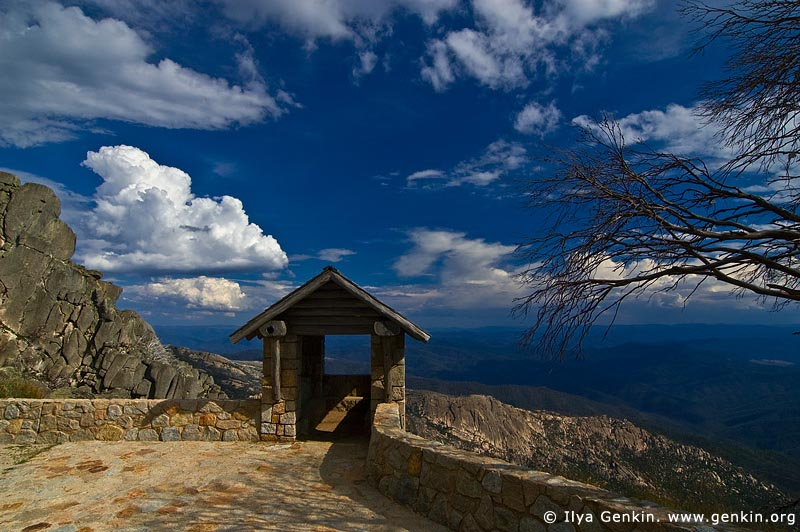 landscapes stock photography | Old Stone Hut and View over Australian Alps from The Horn, Mount Buffalo National Park, Victoria, Australia, Image ID MOUNT-BUFFALO-VIC-0006