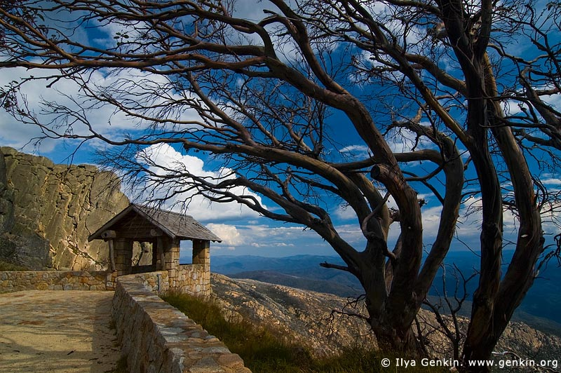 landscapes stock photography | Old Stone Hut and View over Australian Alps from The Horn, Mount Buffalo National Park, Victoria, Australia, Image ID MOUNT-BUFFALO-VIC-0007