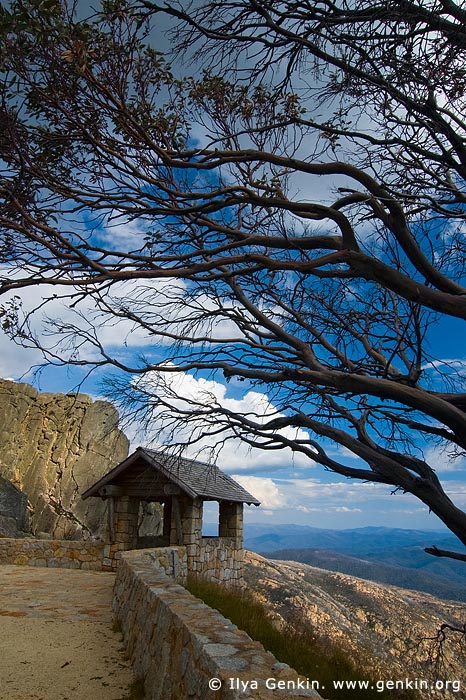 landscapes stock photography | Old Stone Hut and View over Australian Alps from The Horn, Mount Buffalo National Park, Victoria, Australia, Image ID MOUNT-BUFFALO-VIC-0008