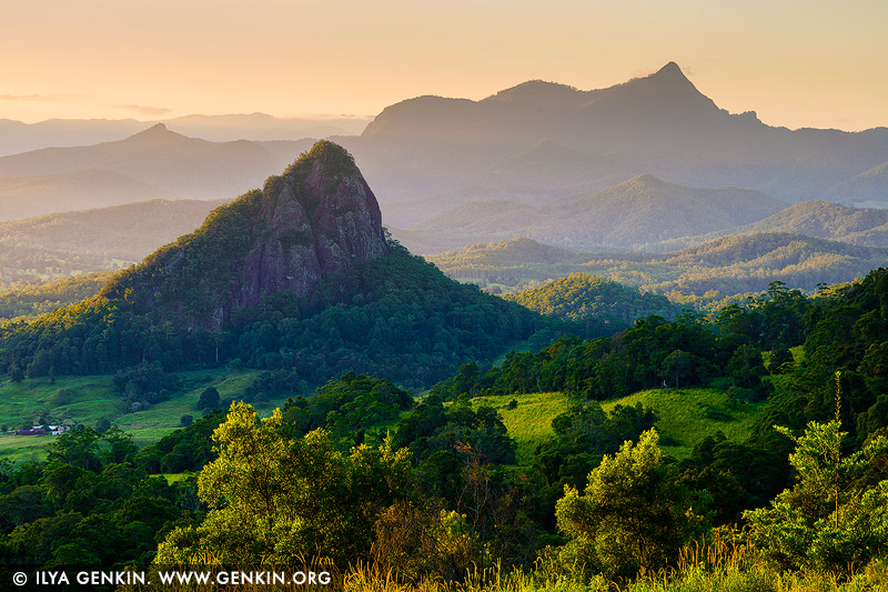 landscapes stock photography | Mount Warning at Sunset, The Northern Rivers, NSW, Australia, Image ID AU-MOUNT-WARNING-0001