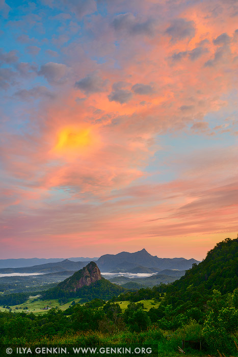 landscapes stock photography | Mount Warning at Sunrise, The Northern Rivers, NSW, Australia, Image ID AU-MOUNT-WARNING-0002