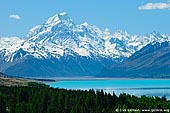 landscapes stock photography | Aoraki/Mount Cook from Lake Pukaki, Mackenzie Region, Southern Alps, South Island, New Zealand, Image ID NZ-AORAKI-MOUNT-COOK-0003. Aoraki / Mount Cook and beautiful Lake Pukaki as seen from Peters Lookout. Lake Pukaki, which is fed by the Tasman River, offers visitors spectacular views of Mt Cook and the Southern Alps from its southern shores. Mt Cook and the Southern Alps with Lake Pukaki in the foreground, Mackenzie Basin, Canterbury, South Island, New Zealand.