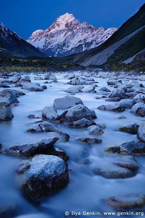 landscapes stock photography | Hooker River and Aoraki/Mount Cook after Sunset, Mackenzie Region, Southern Alps, South Island, New Zealand, Image ID NZ-AORAKI-MOUNT-COOK-0004