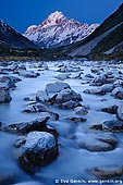 landscapes stock photography | Hooker River and Aoraki/Mount Cook after Sunset, Mackenzie Region, Southern Alps, South Island, New Zealand, Image ID NZ-AORAKI-MOUNT-COOK-0004. Aoraki/Mount Cook at sunset and the Hooker River in the foreground in the Aoraki Mt Cook National Park, Southern Alps, South Island, New Zealand.