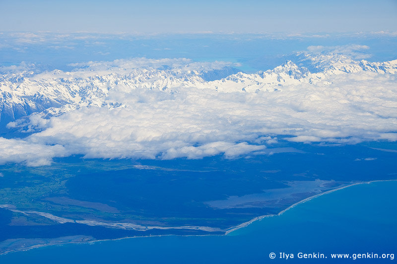 landscapes stock photography | Aerial View of the Aoraki/Mount Cook and Southern Alps, South Island, New Zealand, Image ID NZ-AORAKI-MOUNT-COOK-0005