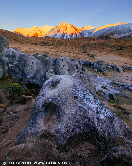 landscapes stock photography | First Sun at Castle Hill, Canterbury Region, South Island, New Zealand, Image ID NZ-CASTLE-HILL-0002