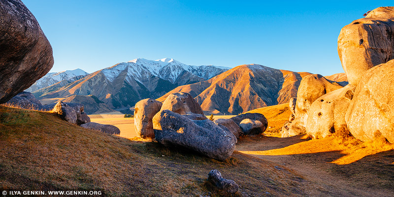 landscapes stock photography | Castle Hill Panorama in the Morning, Canterbury Region, South Island, New Zealand, Image ID NZ-CASTLE-HILL-0003