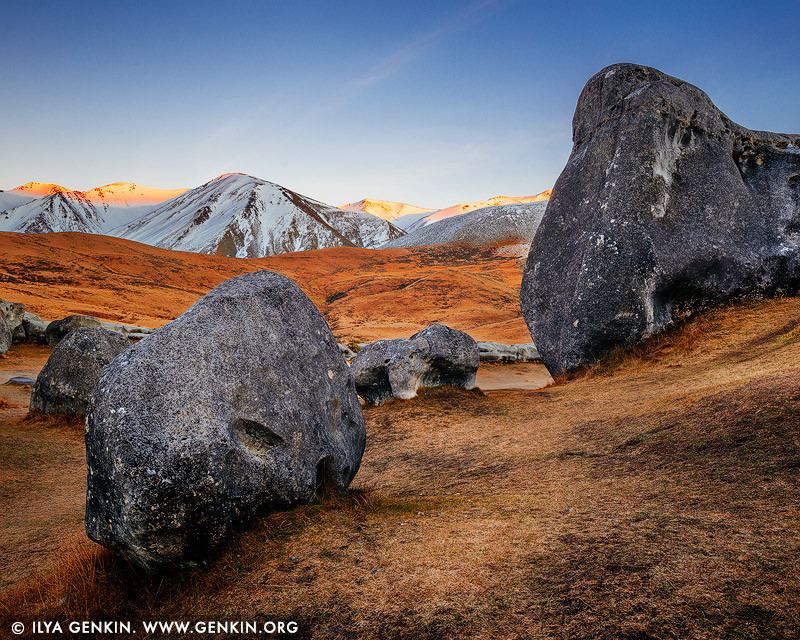 landscapes stock photography | Castle Hill at Dawn, Canterbury Region, South Island, New Zealand, Image ID NZ-CASTLE-HILL-0004